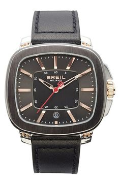 Men's Breil 'Capital' Rectangle Case Leather Strap Watch
