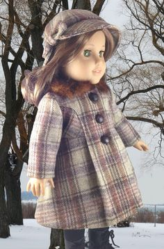 Brown Plaid Wool Coat and Hat for American by CrabapplesBoutique, $75.00