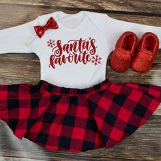 Girl's Christmas Skirt Outfit | 'Santa Favorite' Red and Black Buffalo Plaid Flannel Twirl Skirt | Complete Baby or Toddler Christmas Set