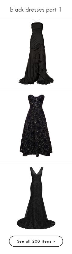 """""""black dresses part 1"""" by megsjessd99 ❤ liked on Polyvore featuring dresses, gowns, vestidos, long dresses, women, ruched dress, jersey evening gown, jersey wrap dress, strapless evening gowns and long jersey dress"""