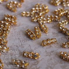 Rhinestone Tube Beads Spacers  - Gold Plated - Vintage Shabby Romantic Style - 6 pcs jewelry assemblage design