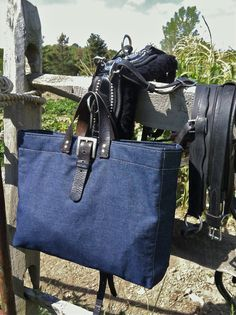 Midwestern Tote. Sustainable American raw indigo denim. Crafted in USA by Green Garage Studio.