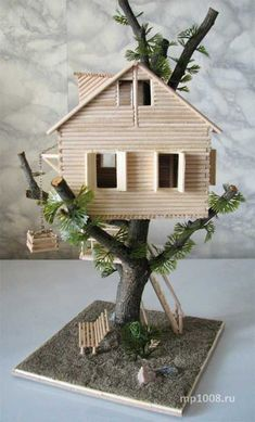35 So-Adorable Popsicle stick craft house designs for Fun – Nilüfer Aşkın – Join the world of pinHow to make tree house Many childhood home built in the trees. I will try to create your own tree house.Take a look at these amazing Popsicle stick cra Popsicle Stick Crafts House, Popsicle Sticks, Craft Stick Crafts, Craft Ideas, Garden Crafts, Home Crafts, Garden Ideas, How To Make Trees, Fairy Garden Houses