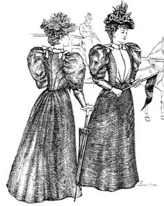 Leg-of-mutton sleeves: full at the shoulder, gradually decreasing until the wrist Blue Stockings, Leg Of Mutton Sleeve, Romantic Period, Steampunk Costume, Dress Shapes, Belle Epoque, Beautiful Gowns, Burlesque, Clothing Ideas