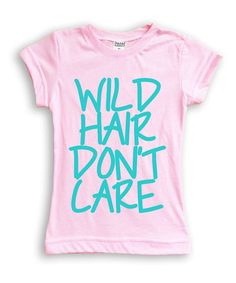 Take a look at this Light Pink & Aqua 'Wild Hair' Fitted Tee - Toddler & Girls today!