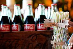 Soda station with cute straws :) Photo by Silva Stills & Cinema. Please do this :-). Those bottle cokes are the best! Wedding Dinner, Summer Wedding, Diy Wedding, Wedding Stuff, Wedding Photos, Wedding Ideas, Something Old Something New, Carnival Themes, Sport Girl