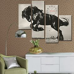 Modern Style Horse Wall Clock in Canvas 4pcs – EUR € 65.99
