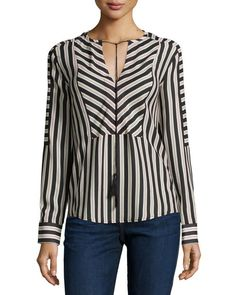 Mairi Long-Sleeve Striped Blouse, Dot Stripe Dark by Rachel Zoe at Neiman Marcus. Kurta Designs, Blouse Designs, Cool Outfits, Fashion Outfits, Short Tops, Rachel Zoe, Blouse Styles, Dress Patterns, Sleeveless Blouse