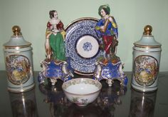 """Porcelain items including 2 figurines and two lidded jars. Vintage male and female figurines are 12"""" and 11""""T respectively. Both pieces are numbered """"120"""" but have no country of origin or manufacturer markings. Female figurine has a broken finger. Two matching 9""""T porcelain jars marked Limoges Hand Painted; 10"""" diameter bowl marked Royal Worcester, England; 4.5"""" diameter Japanese bowl.  Canton, CT Auction Ending 4/21/13."""