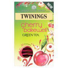 Twinings Cherry Bakewell Green Tea is a fruity tea that has all the great health benefits of regular green tea. Green Tea Drinks, Green Tea Bags, Twinings Tea, Tesco Groceries, Bakewell, Brewing Tea, Vanilla Flavoring, Drinking Tea