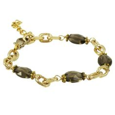 """18k Yellow Gold Plated Smoky Quartz Semi Precious Link Bracelet 6.5"""" with 1"""" Extender Rich Chic Jewelry. $30.87. Free Jewelry Pouch Included. 6.5"""" Length with 1"""" Extender. 18k Yellow Gold Plated"""