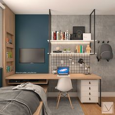 Television is often the big black spot of the decoration in the living room.We often try by all means to hide or relegate it to a room dedicated to it. Masculine Room, Decor Around Tv, Cool Dorm Rooms, Home Office Decor, Home Decor, Office Furniture, Interiores Design, My Room, Decoration