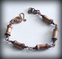 Oxidized Copper Tube Bracelet with Handmade Tube Beads. Susan Olivio, via Etsy.
