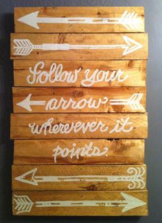 "Upcycled Pallet Wood Art, ""Follow your arrow where ever it points"""