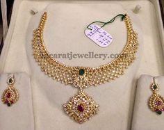 Jewellery Designs: Nice CZ Necklace 50 GMS