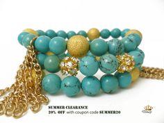 Turquoise Bracelet Beaded Bracelet with Genuine Turquoise Gemstone Beads and Tassel Stackable Stretch Bracelet. $14.60, via Etsy.