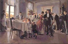 The Dinner Party, Erik Ludwig Henningsen Victorian Life, Victorian Women, Arte Dachshund, Vintage Artwork, Old Pictures, Vintage Children, Art Google, Art History, Fairy Tales