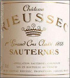 2009 Chateau Rieussec, Sauternes, France    93pt. 63 pounds