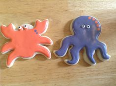 Crab and octopus cookies