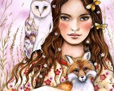 the owl, the fox and all the butterflies by claudia tremblay Portrait Male, Illustrations, Illustration Art, Art Papillon, Claudia Tremblay, Happy Winter Solstice, Images Vintage, Art Prints For Sale, Human Art