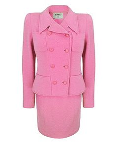 vintage CHANEL pink boucle wool suit