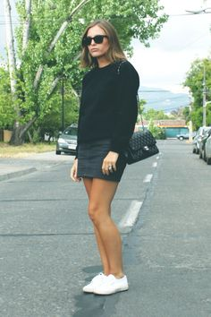 Another outfit from last summer. Ray-Ban sunglasses, black jumper, American Apparel skirt, Superga sneakers and Chanel bag. Superga Outfit, Superga Sneakers, Uk Street Style, Sneakers Street Style, Skirt And Sneakers, Black Sneakers, Casual Outfits, Fashion Outfits, Style Fashion