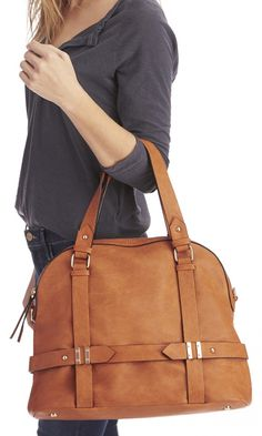 Camel bowler bag with detailed hardware, top handles and removable sholder strap