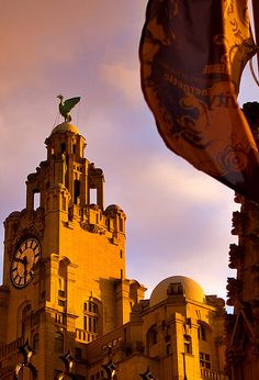 Liver building in sunset, Liverpool, UK