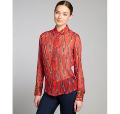 Winter Kate red and blue printed crinkle silk chiffon beaded cuff blouse