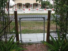 so excited to get a little vintage double loop wire fence and gate like this in my back yard soon.