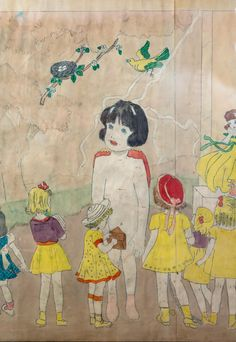 144 At Jennie Richee. Waiting for the blinding rain to stop. (detail) Henry Darger