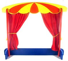 Wooden Puppet Theatre Red Velvet Curtains
