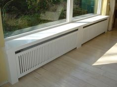Radiator cover with windowsill - - . Radiator cover w Best Radiators, Home Radiators, Bay Window Benches, Small Space Interior Design, Radiator Cover, Ideas Hogar, Tiny Apartments, Home Upgrades, Window Sill