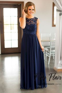 Bridesmaid dresses Beautiful lace details set this dress apart from any other affordable bridesmaid dresses! This beautiful full length dress features a sheer lace overlay covering it's front and back and long layers of Navy Bridesmaids, Navy Blue Bridesmaid Dresses, Affordable Bridesmaid Dresses, Grad Dresses, Wedding Bridesmaid Dresses, Wedding Attire, Long Dresses, Ladies Dress Design, Fashion Dresses