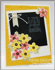 Connie's delightful card features Petite Petals & its punch, Perfect Pennants, On Film Framelits, and Arrows embossing folder. All supplies by Stampin' Up!