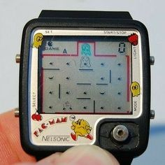 Nelsonic Pac-Man Watch Video Game w/ Joystick control 80s Video Games, Vintage Video Games, Vintage Games, Vintage Toys, Retro Games, Games W, Old Games, Retro Watches, Cool Watches