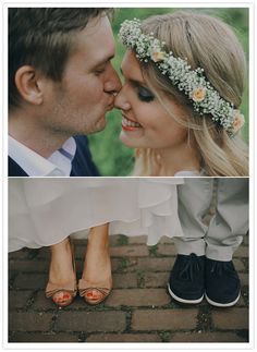 """I love the little peck on the nose and the beautiful floral headband.  She instantly reminded me of how radiant """"Jenny"""" looked at Forest's wedding walking across the grass. :)  -mp"""