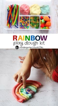 This super fun rainbow play dough kit is perfect for spring! So many possibilities for sensory play and hands on learning! Rainbow Activities, Playdough Activities, Rainbow Crafts, Fun Activities For Kids, Family Activities, Indoor Activities, Play Doh Kits, Diy Play Doh, Play Dough