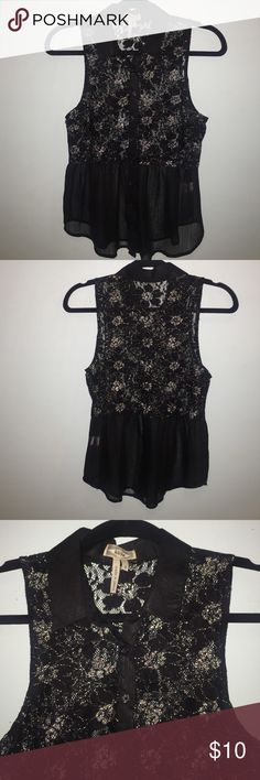 Small PacSun button down blouse. Gently used. This shear blouse is gently used from PacSun. You can wear a bandeau or tank under it. It has a collar, and buttons from top to bottom. No tears or rips. PacSun Tops Blouses
