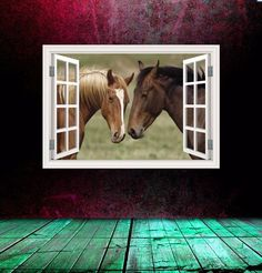Window Frame Wall Decal with Two Horses Kissing in a Field