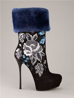 Gianmarco Lorenzi Embroidered Black Suede Boots with Blue Faux Fur Cuff High Heels Boots, Sexy Boots, Heeled Boots, Bootie Boots, Ankle Boots, Blue High Heels, Stiletto Boots, Ugg Boots, Dr Shoes