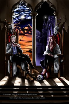 Clary Fray and Sebastian Morgenstern/ Jonathan Christopher Morgenstern on the Thrones of Edom, City of Heavenly Fire