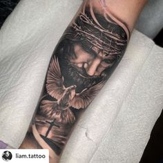Awesome Jesus tattoo I got to do today. Thanks Devon! Jesus Forearm Tattoo, Jesus Hand Tattoo, Jesus Tattoo Sleeve, Half Sleeve Tattoos Forearm, Religious Tattoo Sleeves, Jesus Tattoo Design, Christ Tattoo, Forearm Sleeve Tattoos, Tribal Sleeve Tattoos