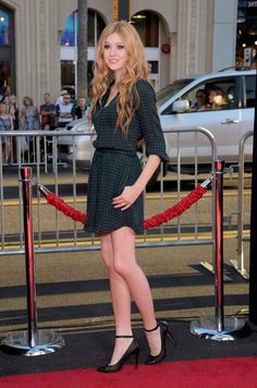Katherine McNamara shows off legs in a short dress at the 'This Is Where I Leave You' Hollywood premiere