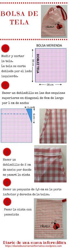 Tutorial gratis: bolsa de tela, bolsa de merienda, bolsa multiusos para bebes y niños. Sewing Lessons, Sewing Hacks, Sewing Crafts, Sewing Projects, Sewing Patterns Free, Free Sewing, Purse Tutorial, Patchwork Bags, Fabric Bags