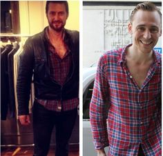 Richard and Tom in the same shirt. MY TWO FAVORITE BRITISH BOYS IN THE SAME SHIRT. <3