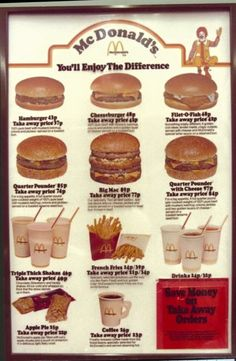 the first UK McDonald's opened, guess how much a value meal cost? McDonalds menu in the Source: McDonaldsMcDonalds menu in the Source: McDonalds Old Advertisements, Retro Advertising, Retro Ads, Vintage Restaurant, Fast Food Restaurant, Menu Restaurant, Retro Recipes, Vintage Recipes, Menu Vintage