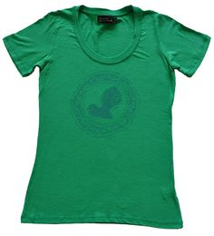 Ladies Fantail T Shirt in Apple. Hand dawn and hand printed t shirt designs by Sonja in Nelson, New Zealand.