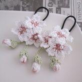 桜ヘアゴムmini2個セット:ホワイト