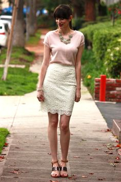 Gorgeous blush outfit. That sweater looks so comfortable and love that it's paired with a lace skirt.